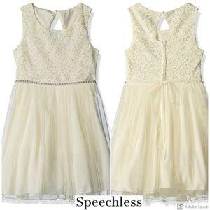 Speechless Lace Tulle Jewel Waist Mesh Girls Dress